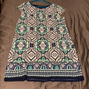 Navy blue, white, and turquoise green dress